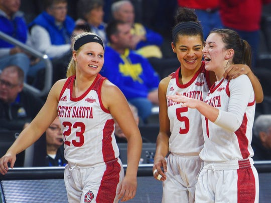 USD's Madison Mckeever (23), Jasmine Trimboli (5) and