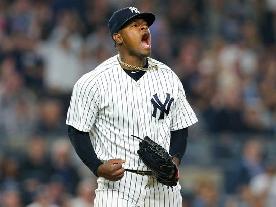 New York Yankees starting pitcher Luis Severino (40) reacts after the top of the seventh inning against the Houston Astros at Yankee Stadium.