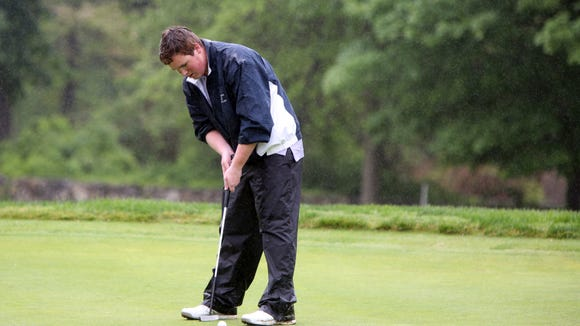 Tappan Zee's Tim Burke competes in the first round of the Section 1 boys golf tournament at Waccabuc Country Club May 22, 2017.