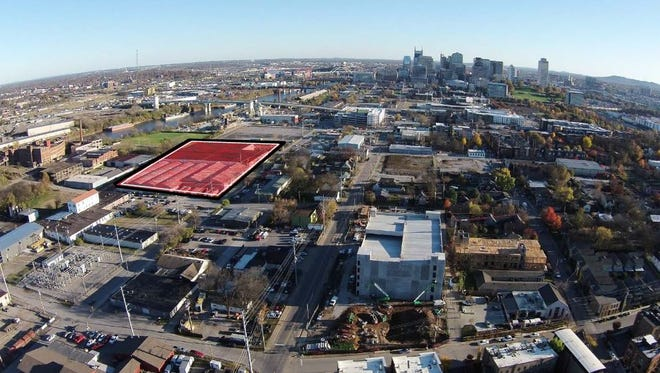 An aerial view of the project site at Second and Taylor, which TPA Group just purchased.