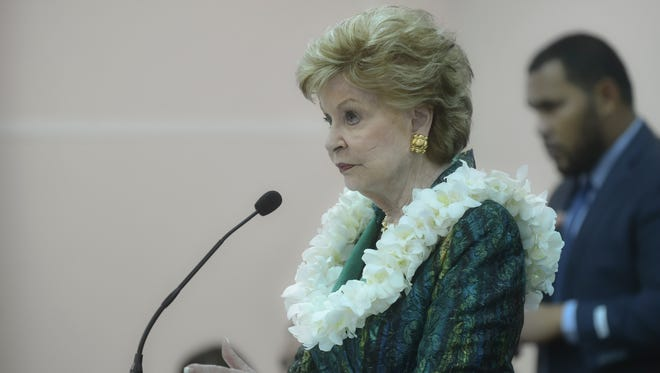 Guam Del. Madeleine Bordallo delivers her annual speech to lawmakers at the island's Legislature in Agana on March 8.