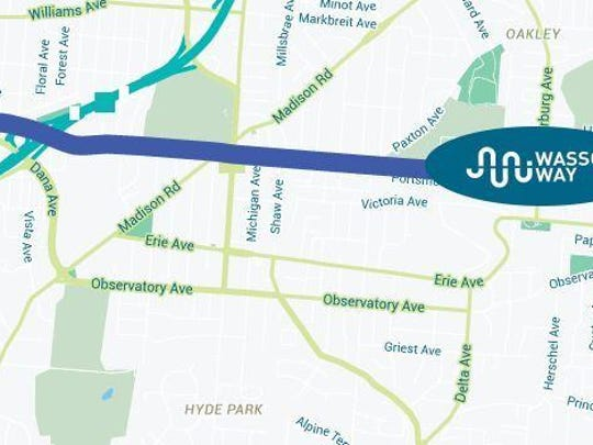 Map showing a portion of the proposed trail running through Hyde Park and Oakley.