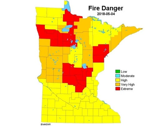 Counties in Central Minnesota are currently at extreme risk of fire, according to the Minnesota Department of Natural Resources.