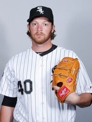 Feb 27, 2016; Glendale, AZ, USA; Chicago White Sox relief pitcher Daniel Webb (40) poses for photo day at Camelback Ranch. Mandatory Credit: Rick Scuteri-USA TODAY Sports