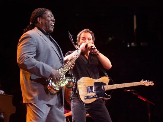 Bruce Springsteen and  Clarence Clemons at Continental Airlines Arena in 1999.