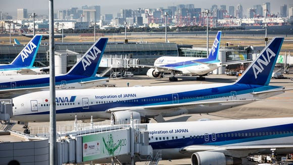All Nippon Airways (ANA) aircrafts are on the tarmac