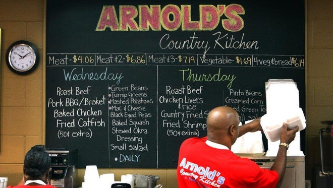 8th Avenue South - Arnold's County Kitchen: This iconic, family-run meat-and-three is a Nashville mainstay with down-home dishes such as roast beef, fried chicken, macaroni and cheese and greens.