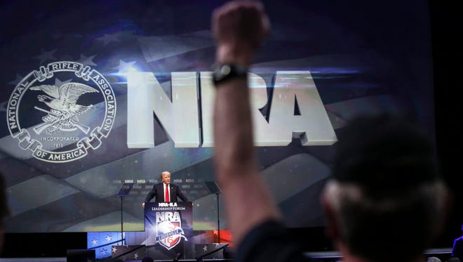 Donald Trump speaks during the NRA Annual Convention Leadership Forum in Louisville, Ky.  on May 20, 2016.