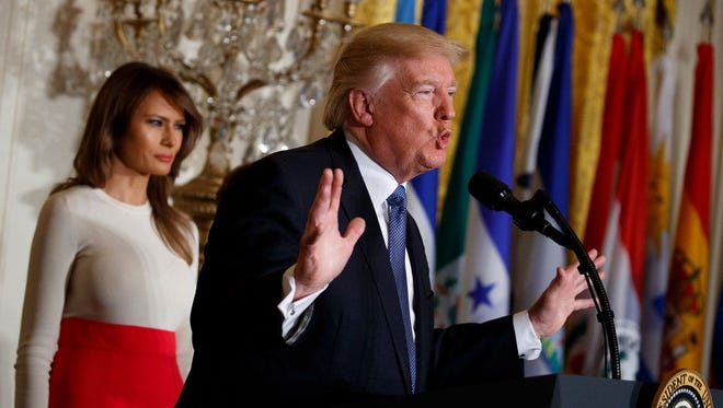 President Trump and First lady Melania Trump at Hispanic Heritage Month event at White House, Washington, D.C., Oct. 6, 2017.