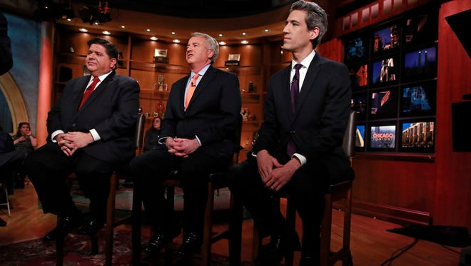 Democratic gubernatorial candidates J.B. Pritzker, Chris Kennedy and Daniel Biss get ready for their candidates forum at WTTW studios in Chicago on March 14, 2018