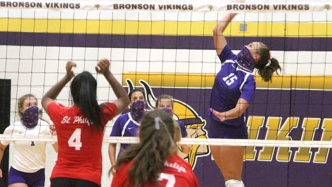 Bronson's Karissa Gest skies for one of her team leading 20 kills this past Friday.