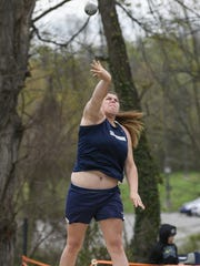 Chambersburg's Reagan Winebrenner throws the shot put during last year's Shippensburg Invitational. She'll be looking for a medal at the Tim Cook Invitational on Saturday.