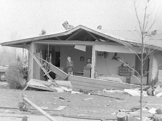 A house damaged by the tornado that hit the Fox Valley on April 27, 1984.