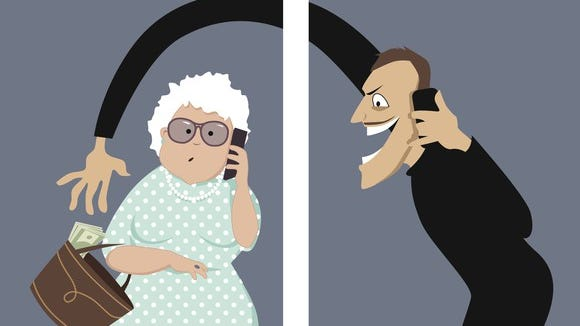 A cartoon depicts a scammer talking on a phone with a woman and trying to steal money out of her purse.