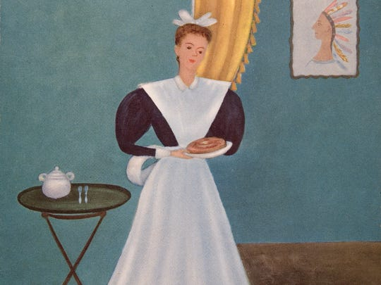 This 1947 menu from the Bright Angel Lodge, with a Harvey Girl, was from a painting by Doris Lee.