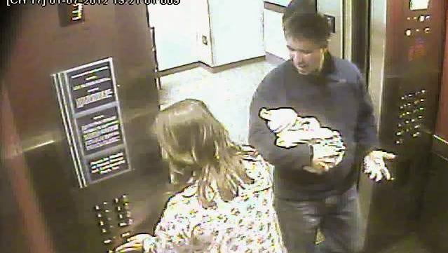 Frame grab from a hospital video showing Douglas Kennedy entering an elevator with his newborn son at Northern Westchester Hospital on Jan. 7, 2012.