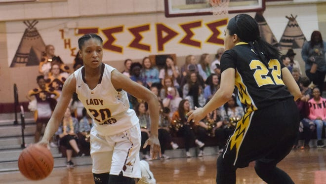 Natchitoches Central's Bre Williams (20) dribbles the ball down the court against East St. John Thursday.
