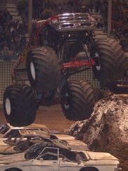 Bear Foot goes airborne during a past monster truck