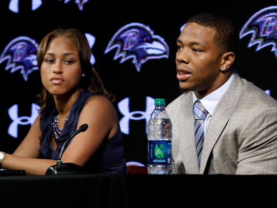 In this May 23, 2014, file photo, Baltimore Ravens running back Ray Rice speaks alongside his wife, Janay, during a news conference in Owings Mills, Md.