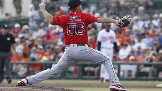 Red Sox left-hander Matt Hall delivers during spring training in March.
