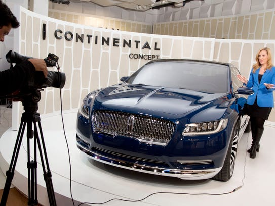 A Lincoln Continental concept car is shown at the New