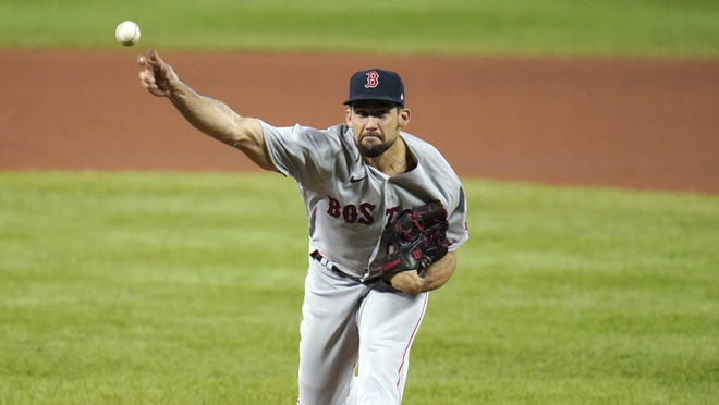 Nathan Eovaldi works in his last start Aug. 20.