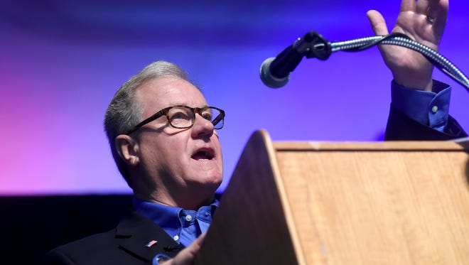 State Sen. Scott Wagner addresses the crowd during a Veterans Day breakfast held at the York Expo Center in November.