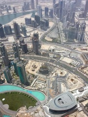 The view of Duabi from atop the Burj Khalifa, the world's