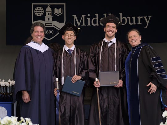 Middlebury College President Laurie Patton with class valedictorian Michael Russo, of Wakefield, Massachusetts, (second from right), salutatorian Hyeon-Seok Tom Yu, of Seoul, South Korea, and Robert Sideli, president of the Middlebury College Alumni Association, at the college's commencement ceremony on Sunday.