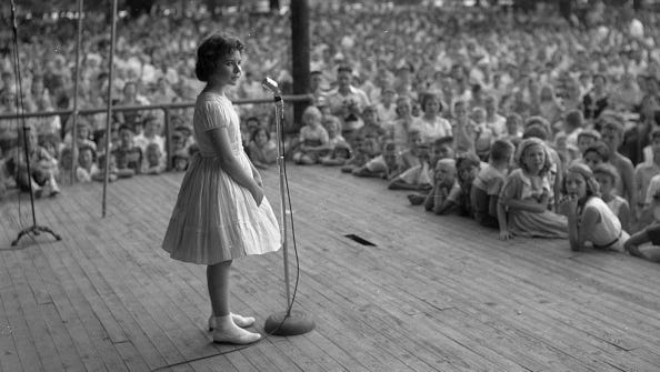 Brenda Lee onstage at Centennial Park, Nashville, in the late 1950s.