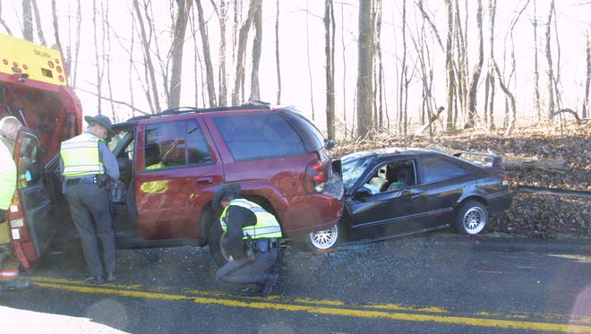 Troopers investigate a Monday morning crash on James Road that injured a Millersport woman.
