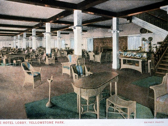 The lobby of the Lake Hotel in Yellowstone