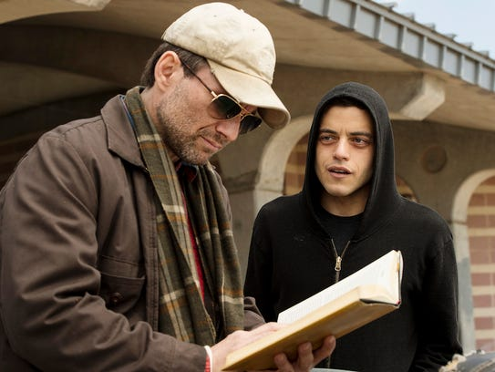 Pictured: (l-r) Christian Slater as Mr. Robot, Rami