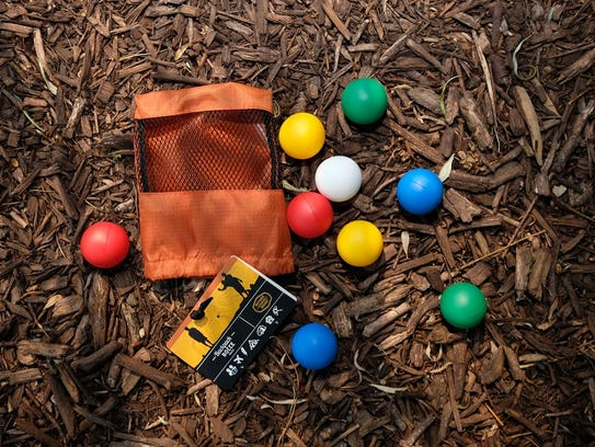 A backpack bocce ball set, available at JAX Outdoor