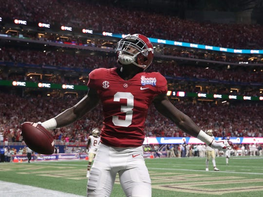 Alabama's Calvin Ridley, one of the leading candidates for the Biletnikoff Award as the nation's outstanding receiver, celebrates after catching a touchdown pass Sept. 2 against Florida State.
