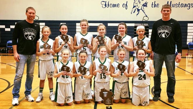 The Laconia fifth-grade girls basketball team finished first in the Wisconsin State Invitational Tournament held in February. The team consisted of: (front, from left) Addison McCauley, Ryland Basler, Payton Morgan, Cambree Johnson, Emma Bohn; (back, from left) Coach Chris Morgan, Ally Shafer, Eva Engel, Aubrey Leonard, Pallen Kloetzke, Molly Duel, Tierney Madigan, Coach Nick Leonard.