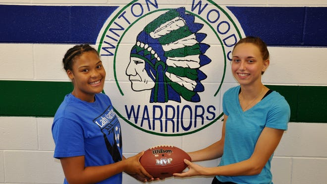 Former Winton Woods student athletes pose in front of the school's mascot. The photo is from 2015.