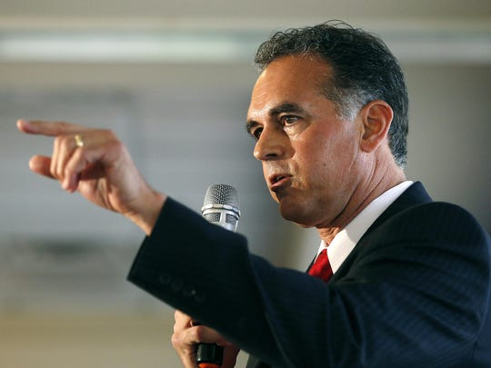 In this April 26, 2016 file photo, Danny Tarkanian participates in a Republican debate for Nevada's 3rd Congressional District in Henderson, Nev.