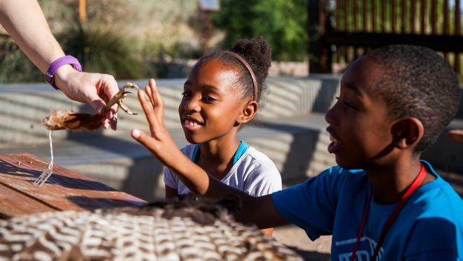 """From left, Tamia Reese, 8, and Brian Reese, 9, react to seeing a bird talon at the Nina Mason Pulliam Rio Salado Audubon Center on Wednesday, March 19, 2014 in Phoenix, Arizona. Students from the Boys & Girls Club act as """"River Keepers"""" during an after-school program, which entails a multi-session nature exploration."""