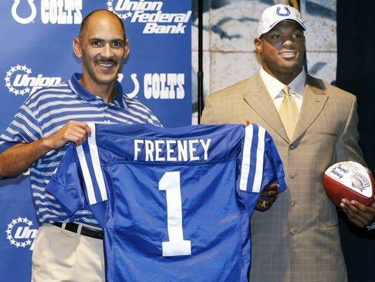 Indianapolis Colts coach Tony Dungy, left, and Colts