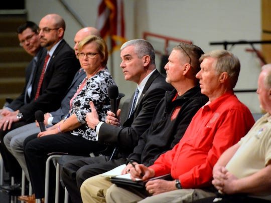 Central York School District Superintendent Michael Snell answers a parent's question during a community meeting to discuss school safety following last week's threats, allegedly made by a 13-year-old middle school student, Wednesday, Feb. 28, 2018.  John A. Pavoncello photo