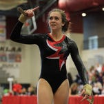 Plymouth's Sam Fontana, shown from last season, helped the Wildcats defeat Salem with a first place finish on beam.
