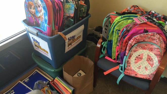 Donations for the United Way of Inner Wisconsin's Stuff the School Bus school supply drive at the Daily Tribune office. Community members can drop off school supplies at the Daily Tribune office through Aug. 3.