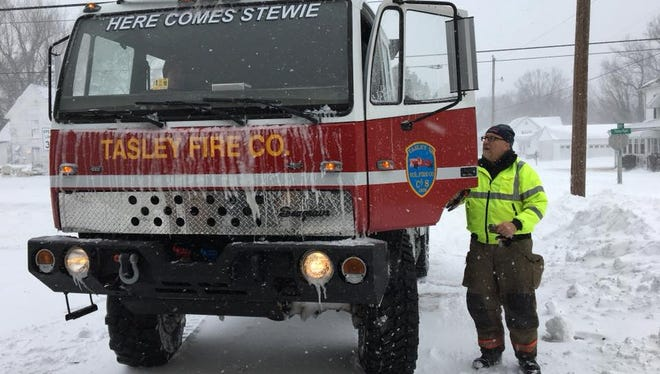 Chief Jeff Beall of the Tasley Volunteer Fire Co. has been busy responding to calls since early Thursday, Jan. 4, 2018 during a winter storm in Accomack County, Va.