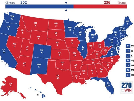 Electoral College forecast map.