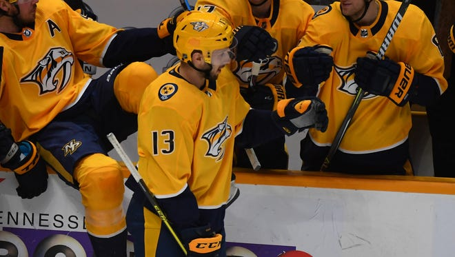Predators center Nick Bonino's three-point performance Saturday, Jan. 20, 2018, was his first game with multiple points for the Predators.