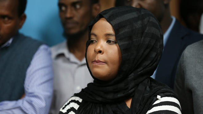 Horiyo Farah was pensive as she listened to speakers during a press conference by the Somali community to update the condition of Dool GureÕs family after she was killed by a train.  Farah is GureÕs cousin.