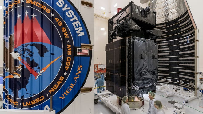 The Air Force's fourth geosynchronous Space Based Infrared System missile warning satellite was encapsulated inside a payload fairing Tuesday at Astrotech Space Operations in Titusville. The satellite was expected to be attached to a United Launch Alliance Atlas V rocket on Thursday, Jan. 11.
