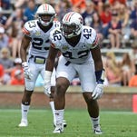Auburn defensive lineman Gimel President (42) at the line of scrimmage during the spring game at Jordan-Hare Stadium on Apr 18, 2015.
