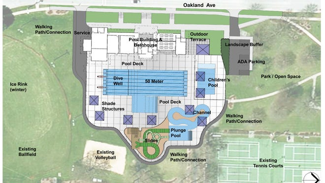This preliminary rendering of what the new Buchner Aquatic Center could look like shows how water slides and channels would be added to the rebuilt pool area. The plans, originally presented in 2017, also call for a larger pool house that includes community rooms. The Waukesha Common Council approved the project in the city's five-year community improvement program budget on Sept. 20.